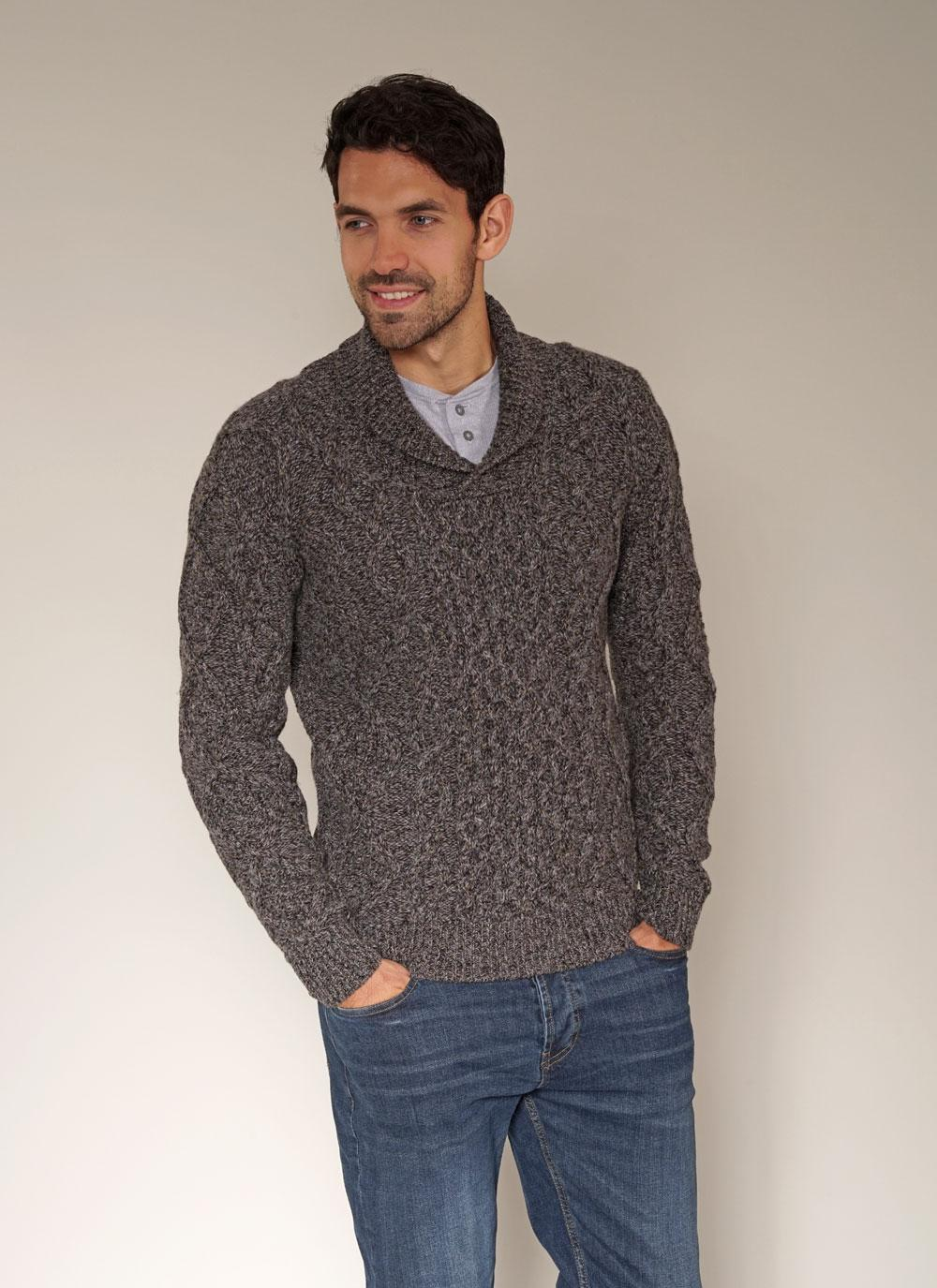 ... fisherman aran shawl collar sweater ... nviarla