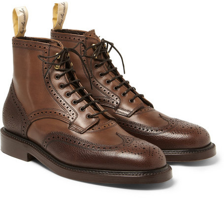 ... grenson foot the coacher pebble grain leather brogue boots ... xyqaxfp