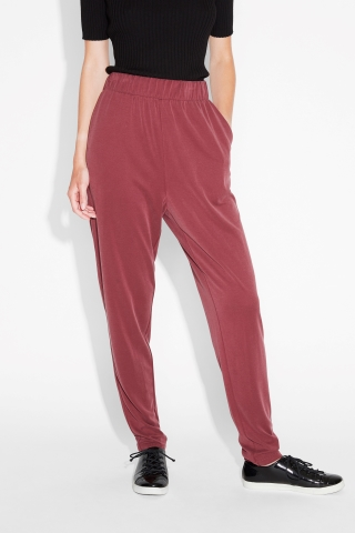 ... monki image 3 of soft modal tapered trousers in red dark ... fxhapmb