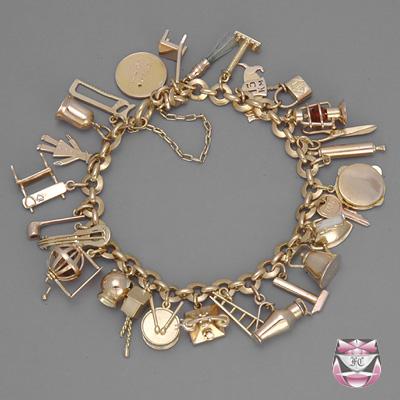 ... vintage rose gold charm bracelet cguhzpd