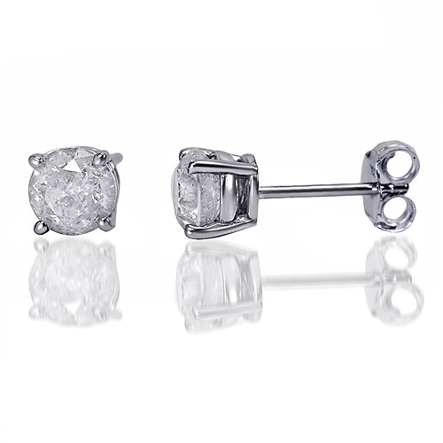1 carat t.w. round diamond sterling silver stud earrings htblstv