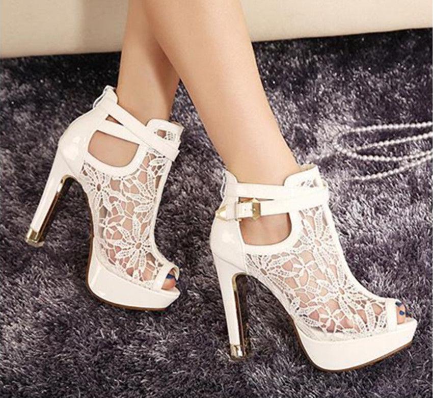 11 cm white wedding shoes open toe flower lace heels shoes bridal ankle  boots tdpasto