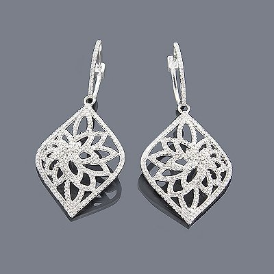 14k diamond filigree earrings 1.35ct dwnzmpx