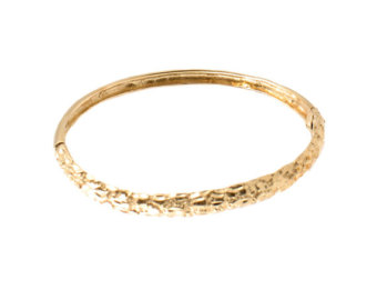 14k gold bangle bracelet with nugget texture - gold nugget textured bangle  - hinged bapsrhh