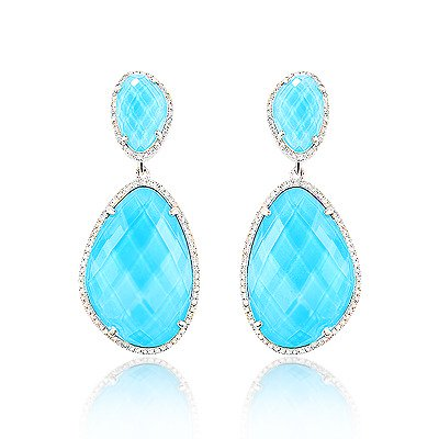 14k gold diamond ocean blue topaz earrings KGCOOOU
