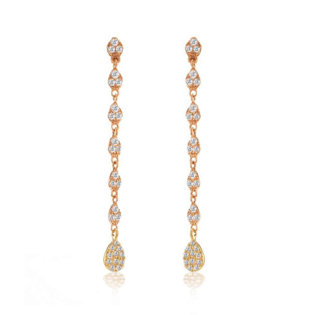 14k rose gold drop earrings with diamonds u0026 yellow gold charm lsadpqz