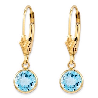 14k swiss blue topaz leverback earrings for girls and young teens dwlcltm