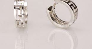 14k white gold earrings with geometric pattern kxorpnu