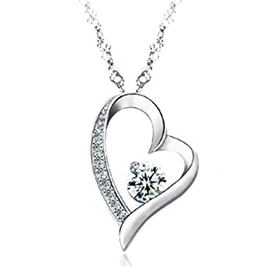 14k white gold overlay sterling silver forever lover heart pendant necklace ixyroih