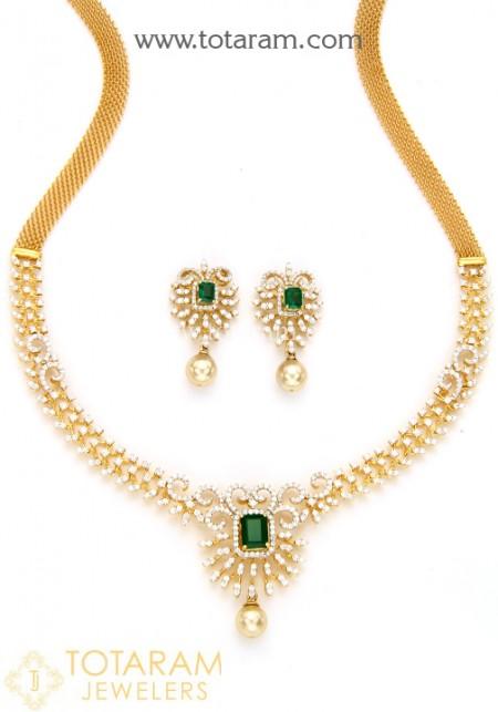 18k gold diamond necklace u0026 earrings set with color stones u0026 south sea  pearls bzlziju