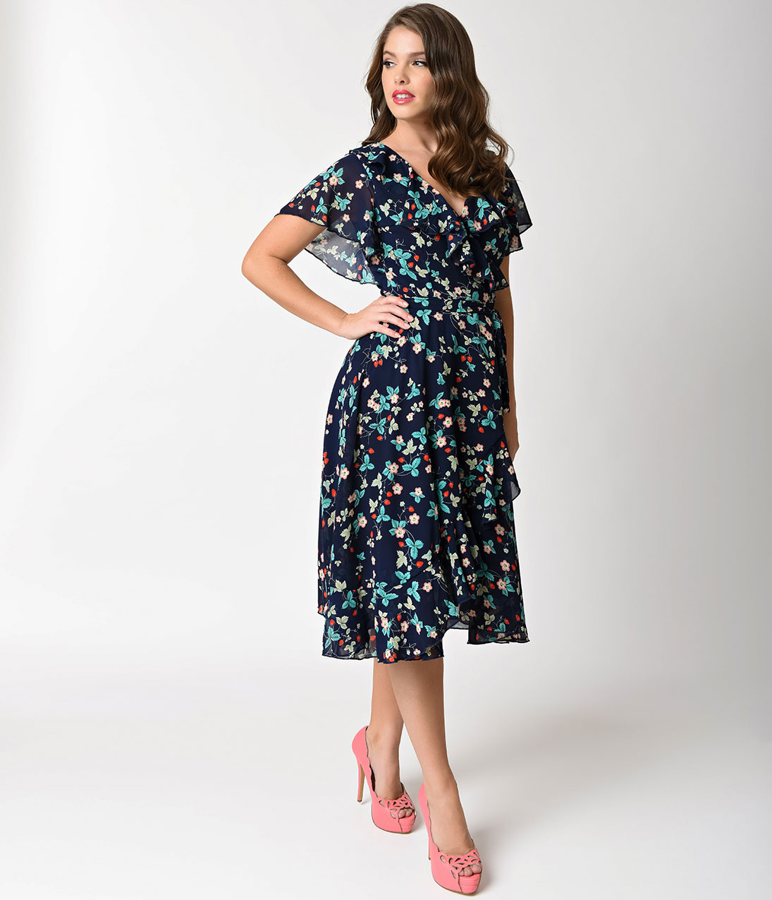 1940s dresses 1940s style dresses and clothing unique vintage 1940s navy blue strawberry  florals chiffon dotty fcwyneq