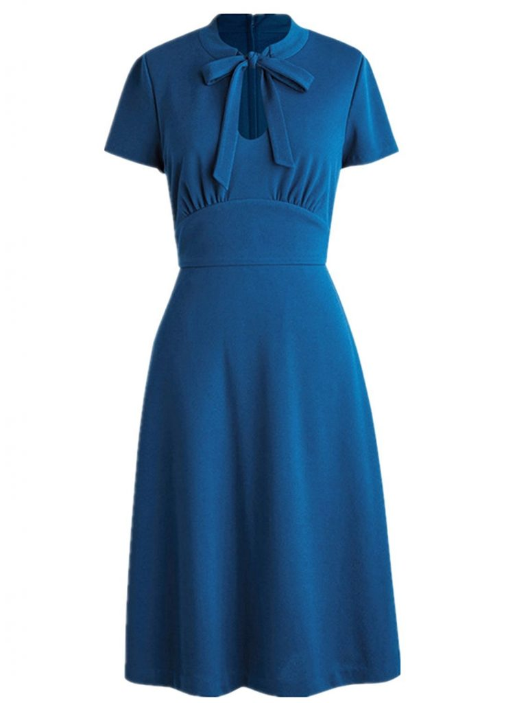 1940s dresses 1940s style dresses and clothing wellwits womens keyhole bow tie front 1940s  vintage collared msnbkdt