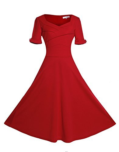 1940s dresses relipop womenu0027s vintage v-neck half sleeve dress casual a-line dresses  (large, red) mgoptpd