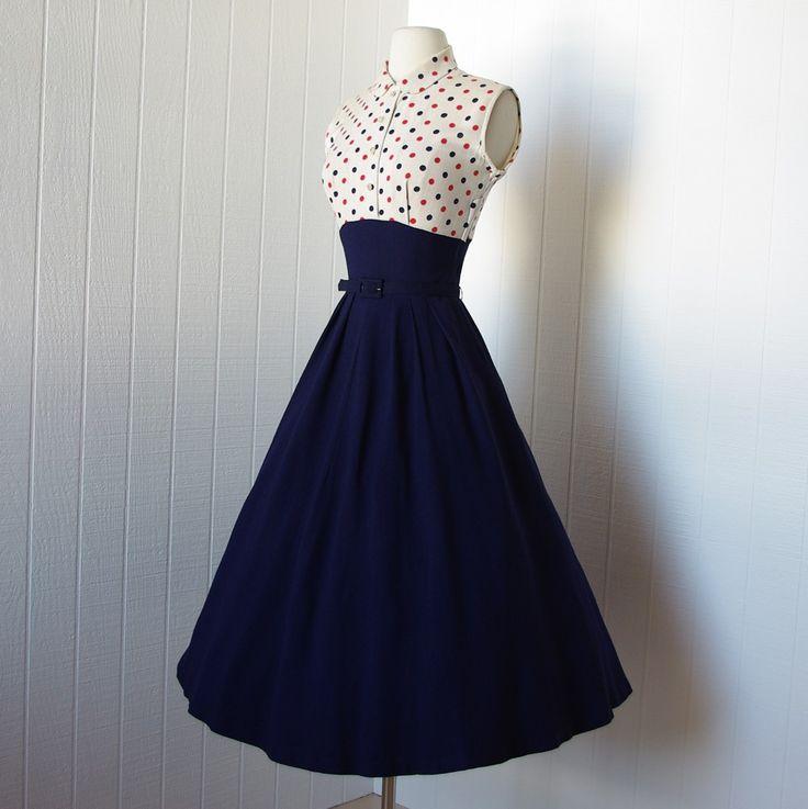 1940s dresses vintage 1940s dress …fabulous wwii navy blue full skirt pin-up dress oyoauwg