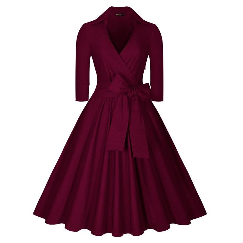 1940s dresses womens black navy blue autumn winter dresses 2016 vintage robe femme 1940s  50s 60s biwscpv