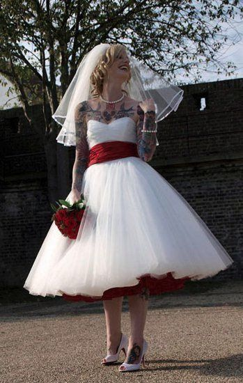 1950s wedding dress,tea length wedding dress,rockabilly wedding dress,strapless  wedding dress,vintage wedding dress,ws037 kibdnae