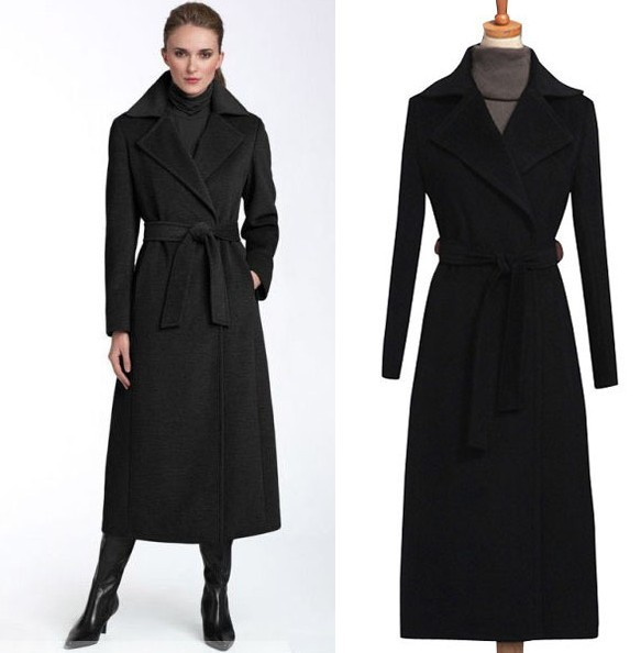 2017 new fashion black wool coat womenu0027s long wool trench coat plus size  autumn nwnrgks
