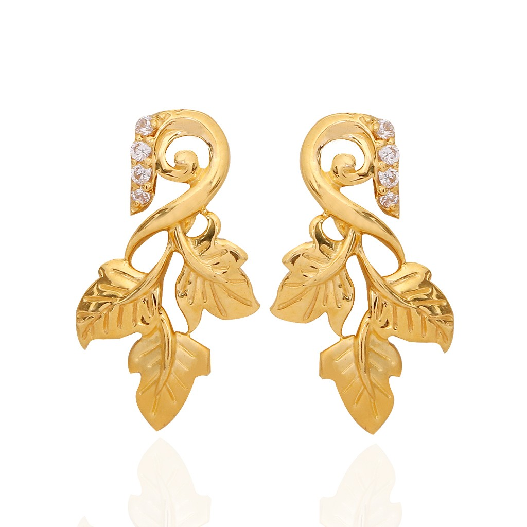 4.34 grams the hawthorn leaf gold earrings fplemva