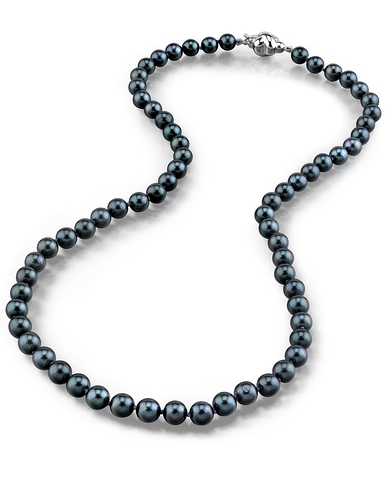 6.0-6.5mm japanese akoya black pearl necklace- aaa quality ZJNLFFP