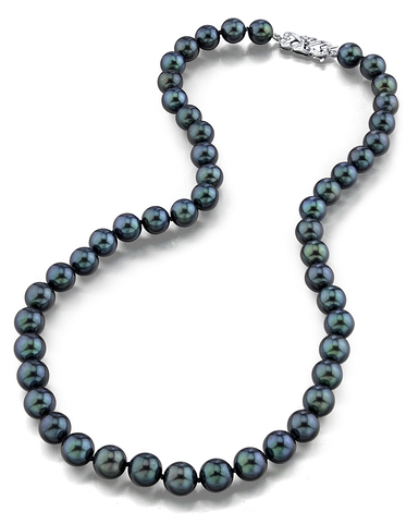 8.0-8.5mm japanese akoya black pearl necklace- aaa quality NYRUBUS