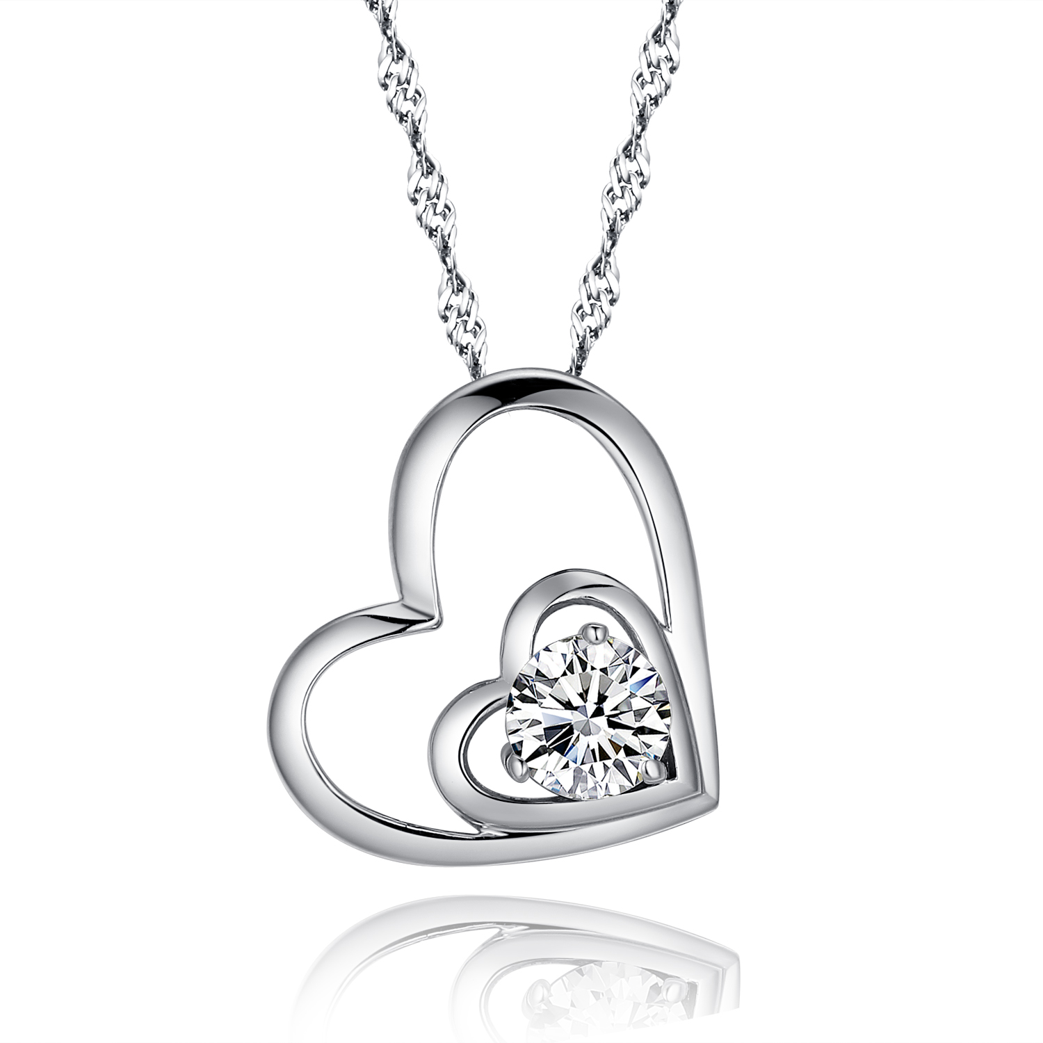 925 sterling silver double love open heart pendant necklace paved cubic  zirconia cz and ieqcspa