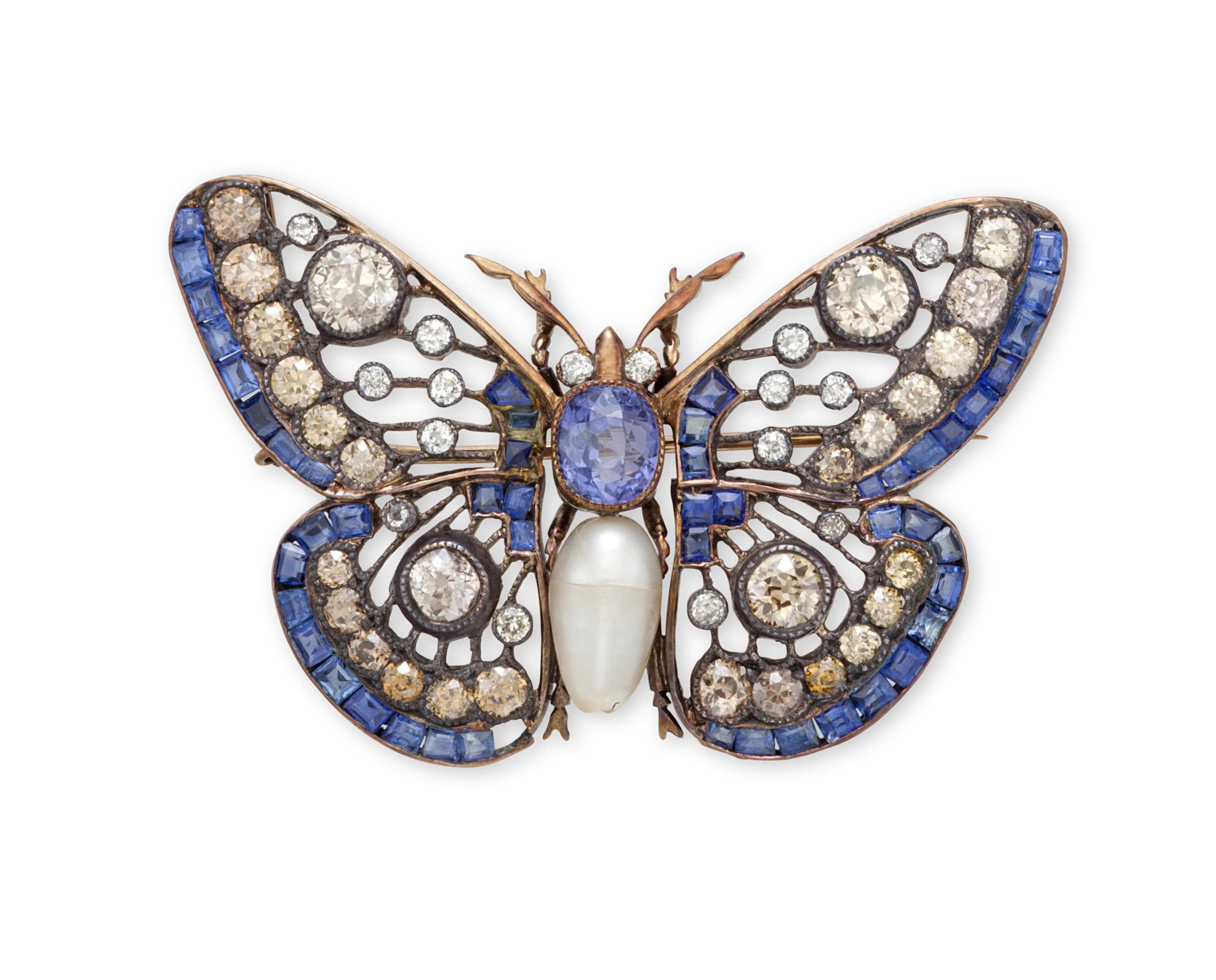 a sapphire, diamond and cultured pearl butterfly brooch wyykjpa