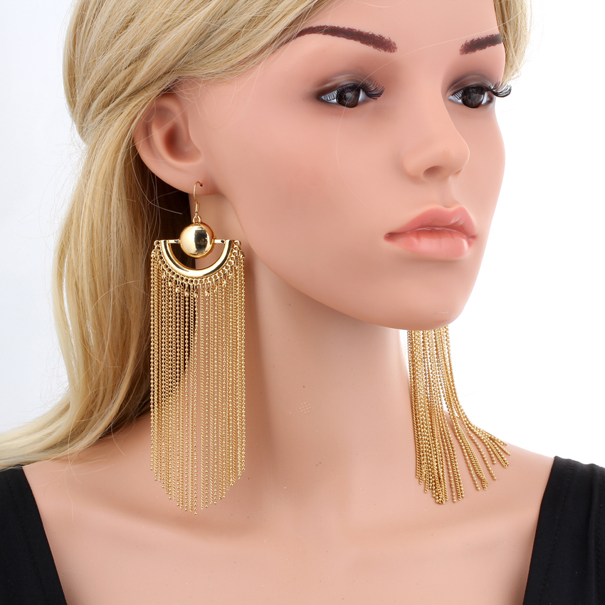 aliexpress.com : buy gold color chain tassel drop dangle long earrings for  women big otztmjs