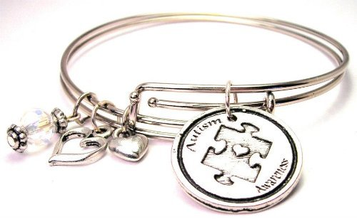 amazon.com: autism awareness adjustable wire bangle charm bracelet:  automotive key chains: jewelry TWZMZDS