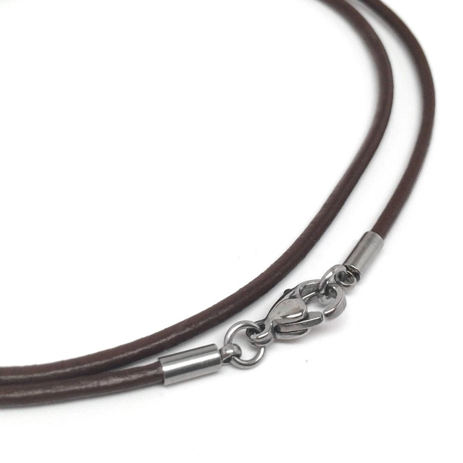 amazon.com: brown leather necklace cord (2mm) with stainless steel clasps  (16 inches): jewelry dnvitun