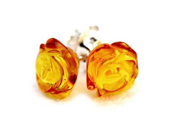 amber earrings flower earrings - rose earrings - rose stud earrings - gift for her - MNZGPEQ