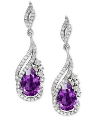 amethyst earrings amethyst (1-1/4 ct. t.w.) and diamond (1/ SRSEISE