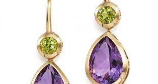 amethyst earrings amethyst and peridot drop earrings in 14k yellow gold more TVECYPO