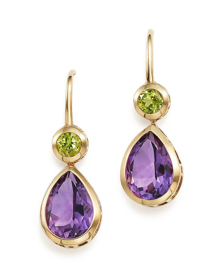 Amethyst Earrings And Peridot Drop In 14k Yellow Gold More Tvecypo