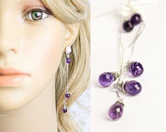 amethyst earrings elegant jewelry gemstone earrings gift/for/girlfriend  birthday gift mom purple earrings IFIUTHN