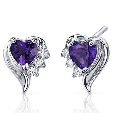 amethyst earrings sterling silver heart shape cz accent BKXLYBY