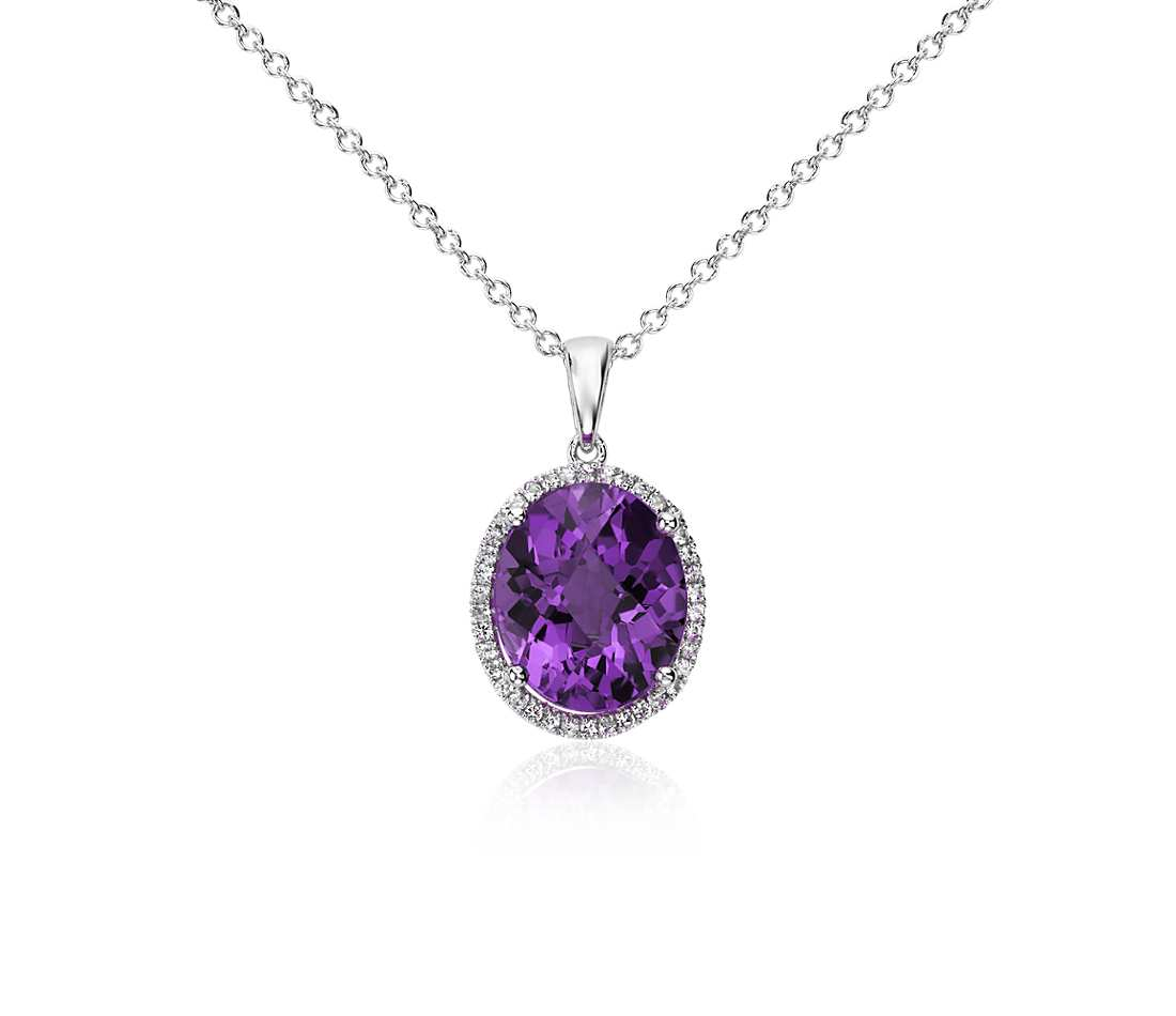 amethyst jewelry amethyst and white sapphire halo oval pendant in sterling silver (12x10mm) BWZJZPQ