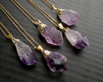 amethyst jewelry amethyst necklace amethyst pendant gold dipped amethyst crystal neсklace  rough amethyst raw mineral purple MHHTARC