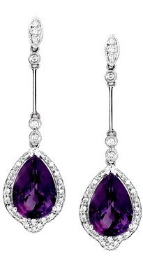 amethyst jewelry pearshape dangling amethyst earrings with diamonds in 14kt white gold. amethyst  jewelry | dangling VZJNDPA