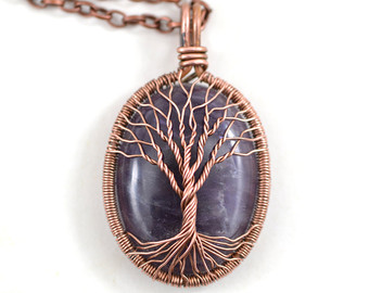 amethyst necklace amethyst copper tree-of-life pendant wired copper jewelry  february birthstone protection mfadbmh