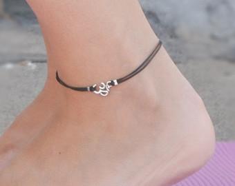 ankle bracelets om anklet, dainty black cord anklet with silver om charm, ankle bracelet,  gift AJHIKNB