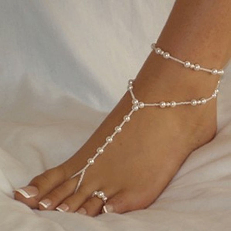ankle jewelry 1 set fashion pearl anklet women ankle bracelet beach imitation pearl  barefoot sandal anklet SVUPZNS