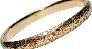 antique 14k solid gold bangle bracelet, repousse, edwardian, nouveau, 12.5  grams wegqosy