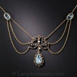 antique necklaces antique aquamarine necklace SSWSFYT