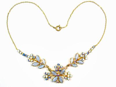 antique necklaces vintage 1950s blue moonstone u0026 aurora borealis necklace LSFGWBN