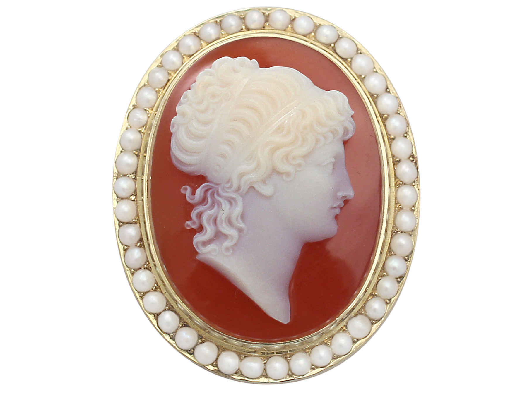 antique victorian cameo brooch with pearls, 15 ct yellow gold oahwjrc