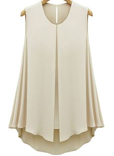 apricot sleeveless double layers chiffon blouse - sheinside.com jbxhexv