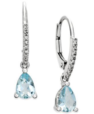aquamarine earrings aquamarine (1-1/10 ct. t.w.) and diamond (1/ OGJLHXT