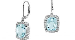 aquamarine earrings cushion cut aquamarine and diamond drop earring in 18k white gold (10x8mm) HOISSPV