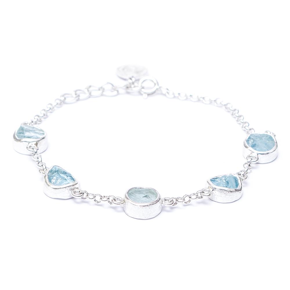 aquamarine gemstone sterling silver handmade ladies bracelet izpxqjy