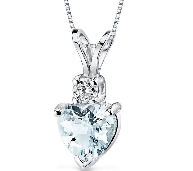aquamarine necklace with a heart shaped cut ... FAZZOCI